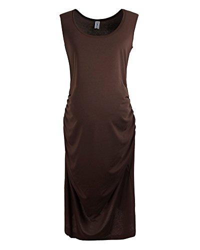 ZongSen Damen Rundhals Solide Farbe Umstandskleid Ärmellos Sommerkleid Für Schwangere Kaffeebraun
