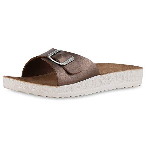 SCARPE VITA Damen Sandalen Leder-Optik Pantoletten Profilsohle Schuhe Flache Hausschuhe Bequeme Freizeitschuhe 182482 Bronze Metallic 37