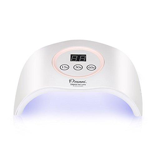 Ovonni Lámpara LED UV uñas profesional, Sensor automático, 3 temporizadores, Esmaltes de Gel, Día de la madre regalo, Viaje, Salón, Perla Blanco/Rosa
