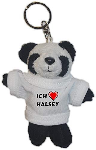 SHOPZEUS Plüsch Pandabär Schlüsselhalter mit T-Shirt mit Aufschrift Ich Liebe Halsey (Vorname/Zuname/Spitzname)
