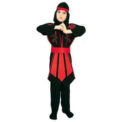 Elegantes Ninja Kostüm Kinder rot schwarz mit schicker Rüstung für Jungen (Kinder Ninja)