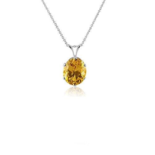 Kezef 6Prong 12x 10mm ovale, argento sterling 925Genuine giallo oro citrino ciondolo su catena cavo