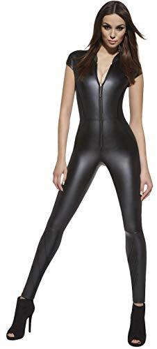 Firstclass Trendstore luxuriöser Catsuit Overall in Leder-Optik * Gr. S M L XL XXL (34-44) Bodysuit Einteiler Jumpsuit Hosenanzug Wetlook (Enya Gr. ()
