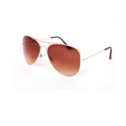 Pilotenbrille Verspiegelt Fliegerbrille Sonnenbrille Pornobrille Brille Aviator Nerd Brille (Gold...