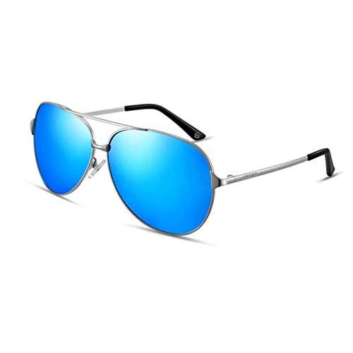 KISlink Herren HD polarisierte Sonnenbrille Aviator Driving Brille Outdoor Casual Sonnenbrille Damen Frosch Spiegel (Farbe: Silber/Eisblau)