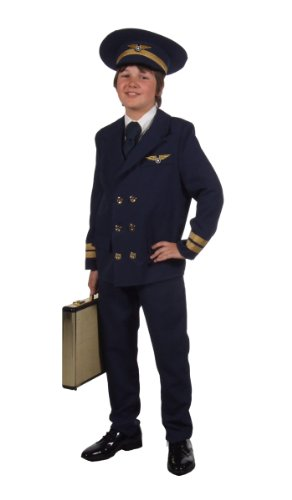 Pilotenkostüm für Kinder in dunkelblau Anzug Gr. 140