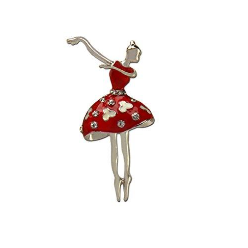 LUFA Rhinestone kleine Tanzen Mädchen Brosche Frauen Kleid Ballett Mädchen Schal Brosche Stifte (Tanzen Brosche)
