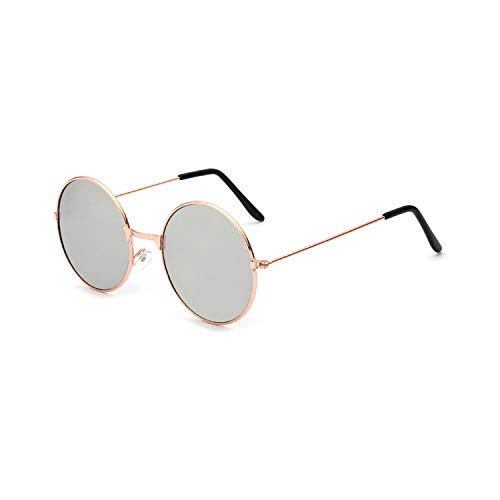 Vikimen Sportbrillen, Angeln Golfbrille,New Womens Round Sunglasses Retro Gold Silver Black Frame Unisex Eyewear Female Male Sun Glasses For Men Oculos Gafas A4066-x23