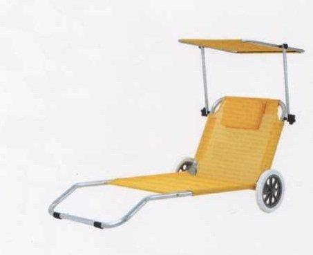Spiaggina trolley in alluminio con tetto