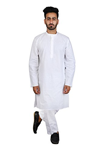 Thaath Men's Ethnic White Kurta Pyjama Set with Light Self-Embroidery (Eid Collection)