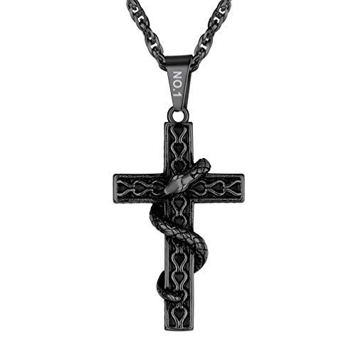PROSTEEL Herren Halskette schwarz Edelstahl Äskulapstab Schlangenstab personalisiert Kreuz mit Schlange Anhänger Halskette Modeschmuck für Männer Jungen