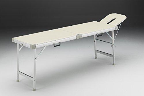 Alu-Kofferliege 56 x 210 cm inkl. Kopfteil m i t Nasenschlitz Farbe créme-beige -