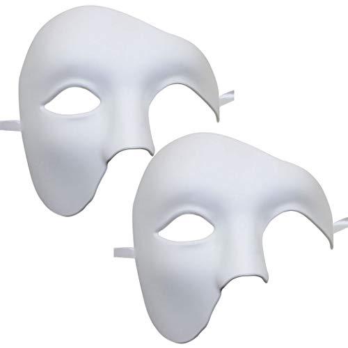 Für Kostüm Phantom Erwachsene Herren - Kapmore Venezianische Maske Herren Maskerade Maske Phantom der Oper Maske Maskenball Maske Kostüme Karneval Party Halloween (Weiß1)