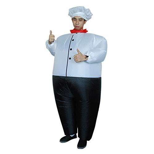 Alte Kostüm Saloon - Sllowwa Aufblasbares Unisex Cosplay Chef Big Fat Kleider Party aufblasbare Karneval lustige Kleidung Halloween Karneval Novelty Fancy Dress(Weiß,One Size)
