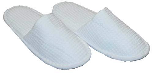 hochwertige Frottee Slipper weiss mit geschlossenen Zehen, Classic Terry Slipper / Schuhe / Hausschuhe / Pantoletten / Hotelslipper / Badeschuhe, Gr. 36 - 41 (Slipper Kragen)