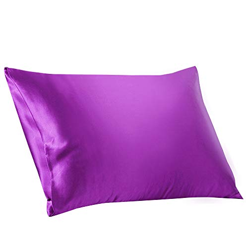 ElleSilk Einfarbig Seiden-Kissenbezug, 22 Momme Charmeuse Seide für Schlafgut, Violett, 50 x 90cm, 1 Stück -
