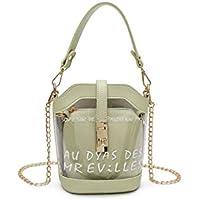Bolso Clutch Bolso Transparente PVC con Letras Claro Cubo Bolso Moda Chica Compras o Viajes Organizador Bolso de Almacenamiento (Negro) (Color : Light Green, tamaño : 18x9x19cm)