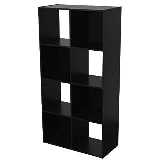 Alsapan Compo 4 x 2 Cube Unit with Melamine, 122.3 x 61.5 x 29.5 cm, Black Finish