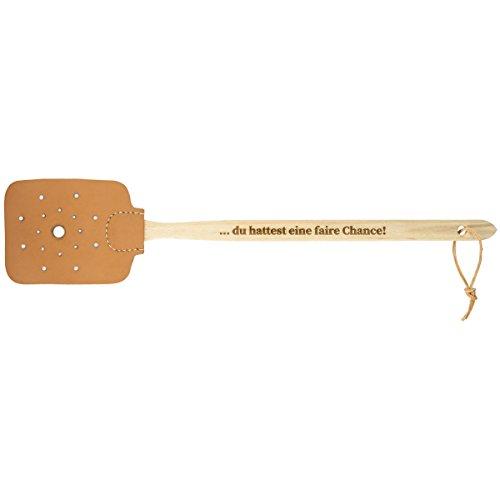 Preisvergleich Produktbild Fliegenklatsche Holz Echtleder Scherzartikel Deko Buche Natur Geschenk Geburtstag mit individueller Gravur Länge 480 mm