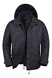 Mountain Warehouse Fell Wasserfeste 3 in 1 Herren Winterjacke, Warmer Fleecejacke, Regenjacke, Herrenjacke, Funktionsjacke, Allwetterjacke, Doppeljacke, Übergangsjacke, Winter Schwarz XX-Large