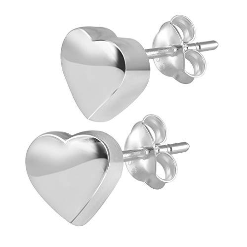 MATERIA 925 Orecchini in argento a forma di cuore orecchini bambini piccolo 4 x 4 mm - con cofanetto portagioie #SO-227