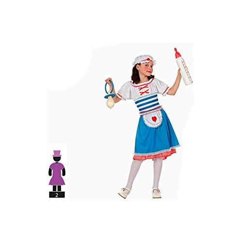 Cisne 2013, S.L. Disfraz de 2 Piezas para Carnaval Infantil niña de muñeca de Trapo Color Azul y Blanco Talla 3-4 años de niño y niña. Cosplay niña Carnaval.