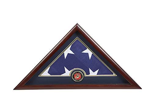 TANGGOOD Alliierter Rahmen US Marine Corps Internierung Amerikanische Bestattungsflagge Vitrine mit Offiziellem Marine Corps Medaillon und US Internierungsflagge ABC