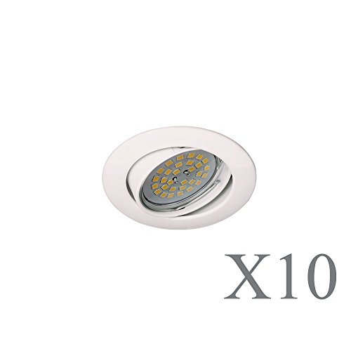 Wonderlamp Basic W-E000111 Pack de Focos Empotrables Redondos con Portalámparas GU10, Blanco,...