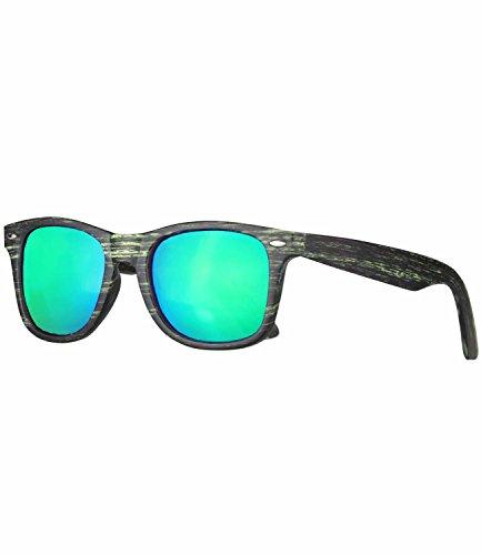caripe Wayfarer Sonnenbrille Nerd Brille verspiegelt + getönt - viele Farben - W-g (Holzoptik graugrün - bluegreen (Brille Nerd Farben)
