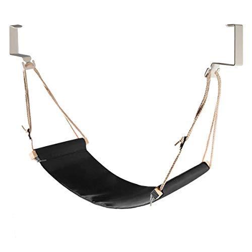 DMcore Leinwand Fußstütze Hängematte, verstellbares Mini Fußstütze Ständer unter dem Schreibtisch für Zuhause und Büro schwarz (Hängematte Low)