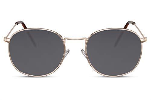 Cheapass Rund-e Sonnenbrille Gold Hipster Graue Linsen UV-400 Metall-Rahmen Unisex