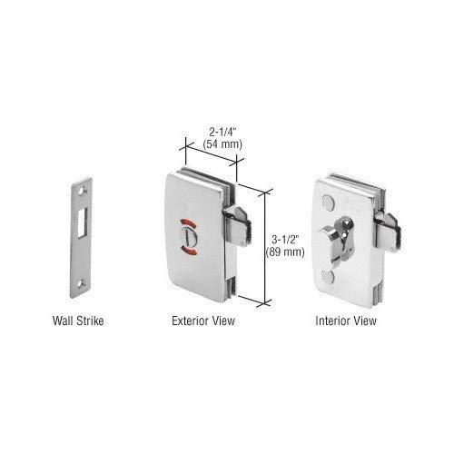 PAR - Cerradura de puerta de cristal deslizante de cromo pulido con in