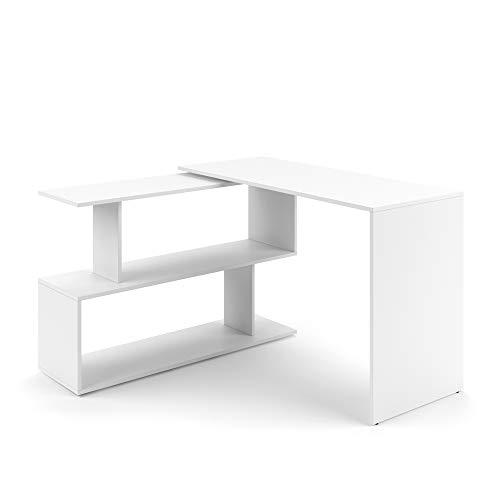 Vicco Eckschreibtisch Schreibtisch LEVIA - PC Tisch Winkelkombination Arbeitstisch Computer Büro +++ 4 Dekore +++ (Weiß)