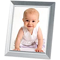 Photo Frame - SILVER Finish - Picture Frame for 8x10 photos Free-Standing or wall mount