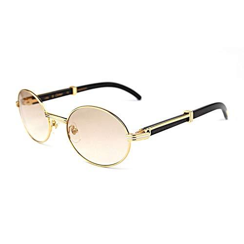 LKVNHP Hohe Qualität Zuverlässige Natur Carter Sonnenbrille Frauen Sonnenbrille Berufung Marke Full Frame Metall Sonnenbrille Für MännerGold Braun 55Mm