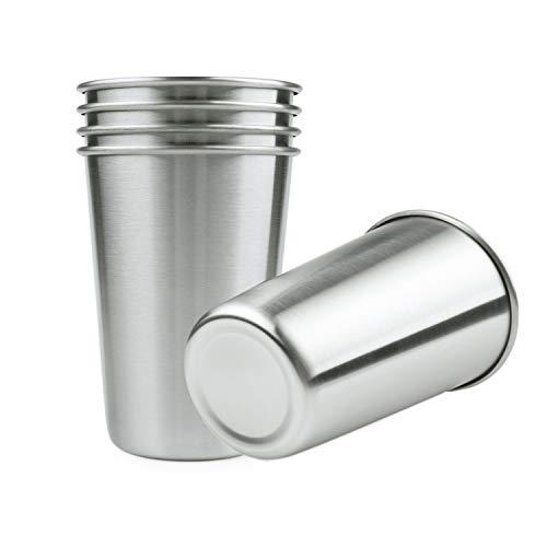 FenDoui 5 Stück Bierkrug, 16 Unzen Edelstahl Pint Tassen für Bier Wasser Kaffee Tee Saft, bleifreie einwandige Metallbecher stapelbar