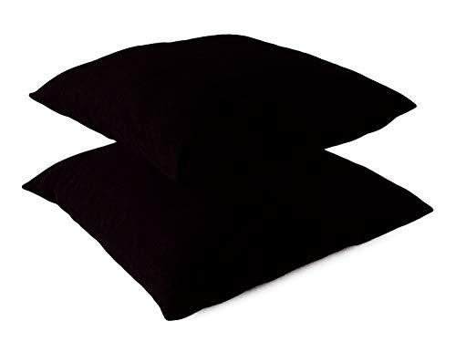 Leonado Vicenti Kissenbezug Kissenhüllen 2er Pack Baumwolle Kopfkissenbezug Renforce 50x50 cm Schwarz mit Reißverschluss