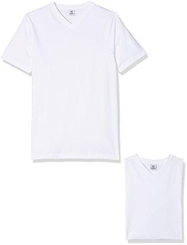 LERROS Herren LERROS Herren T-Shirt mit V-Ausschnitt Doppelpack T-Shirt,,per pack Weiß (White 100),XXX-Large (Pack Männer T-shirts Weiße)