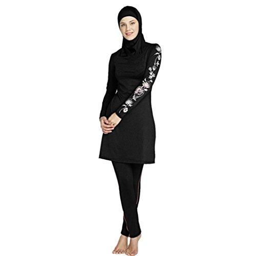 (Rosennie Damen Muslimischen Islamische moslemische Volle Abdeckungs Badebekleidung Bescheidene Beachwear Schwimmen Full Cover Kostüme Bademode Bikini Frauen Plus Size Swimsuit(Schwarz,3XL))