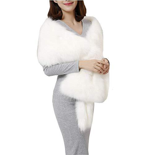 Mantella donna invernali pelliccia sintetica eleganti sciarpa di pelliccia monocromo stole sciarpa moda caldo