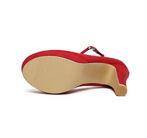 WZG Neue Schuhe Wildleder wasserdicht dick mit Super-High-Heels neue Schuhe Schnalle wine red
