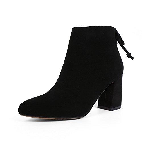 balamasa-girls-chunky-heels-spun-gold-bowknot-zipper-black-frosted-boots-25-uk