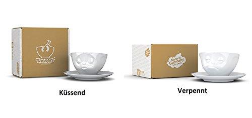 2X Fiftyeight TV Tassen Kaffee Tasse Weiss mit Untertasse (Ø15cm) 'Küssend + Verpennt'