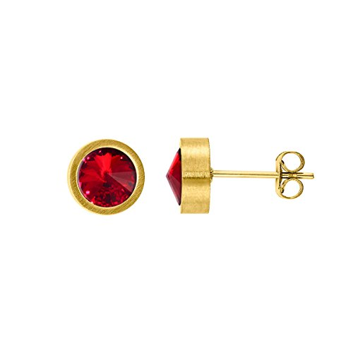 Heideman Ohrringe Damen Coma aus Edelstahl gold farbend matt Ohrstecker für Frauen mit Swarovski Stein Kristall siam rot im Fantasie Edelsteinschliff 6mm