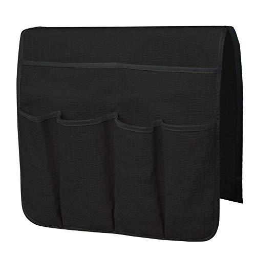 BETTERLE Anti-Rutsch Sofa Armlehne Organizer, Durable Soft Caddy Organizer Couch Stuhl Armlehne Aufbewahrungstaschen Tasche für Mobiltelefon Tabletten Zeitschriften Gläser Snacks Beutel (Black) (Stuhl-arm-protektoren)