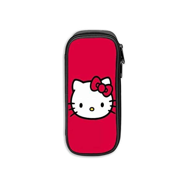 «Estuche de lápices de Hello Kitty rojo, Bolso de la pluma de la lona, Bolso portátil de la bolsa de estudiantes de oficina con cremalleras para niños niñas adultos»