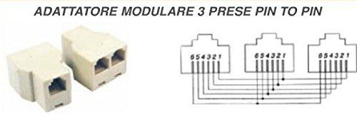 MICROELETTRONICA - Modular-Adapter 3 Steckdosen Pin zu Pin für Telefonnetz 2 Stück