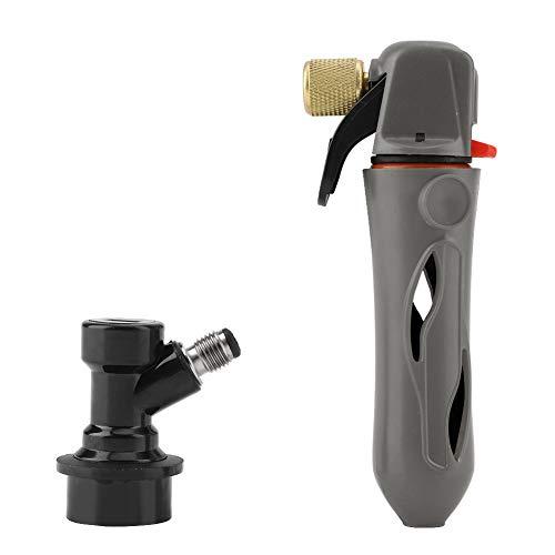 Fass Ladegerät Homebrew CO2 Injektor Tragbare Bier Spender CO2 Ladegeräte Handheld Fass Aufblasventil(Grau) -