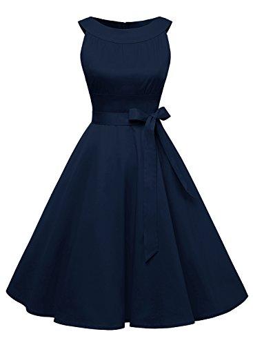 Timormode Sommerkleider 50er Retro Damen Rockabilly Kurz Vintage Kleid Ärmellos Swing Kleid Ballkleid 10408 2XL Marineblau