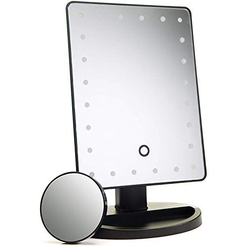 ADOV Espejo Maquillaje con Luz, 24 LED Espejo Cosmético de Sobremesa, Aumento 10x, 180° de Rotación...
